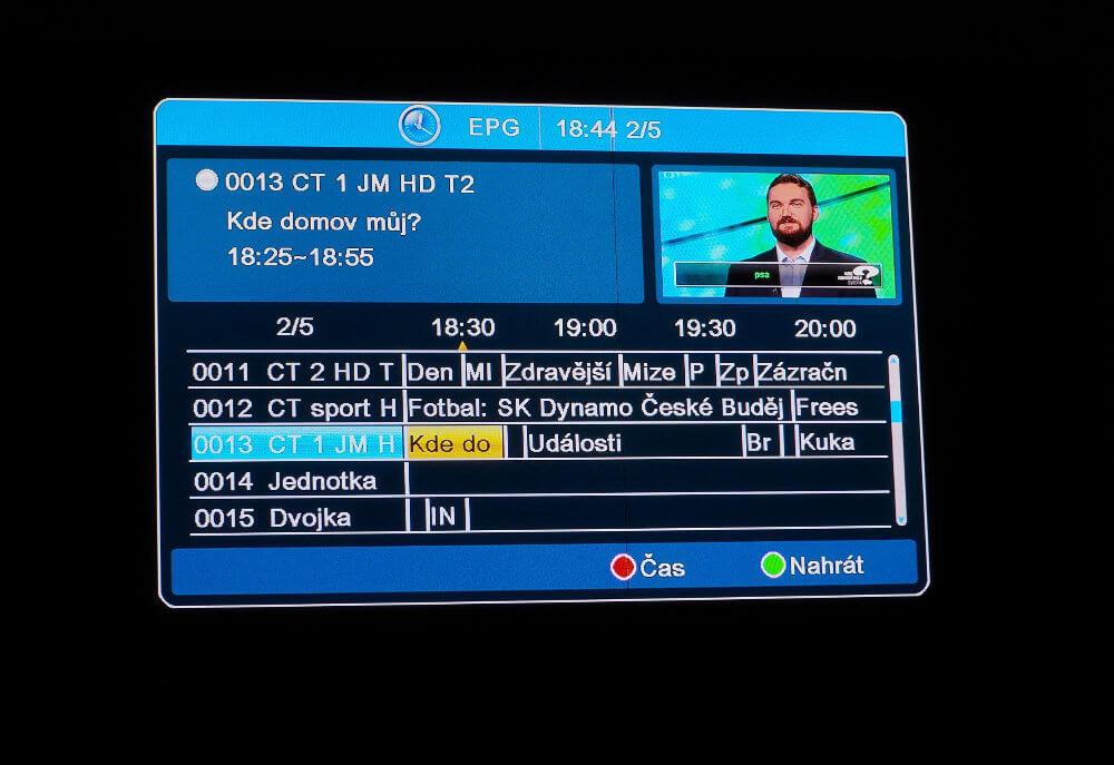 Přehled ostatních kanálů v EPG