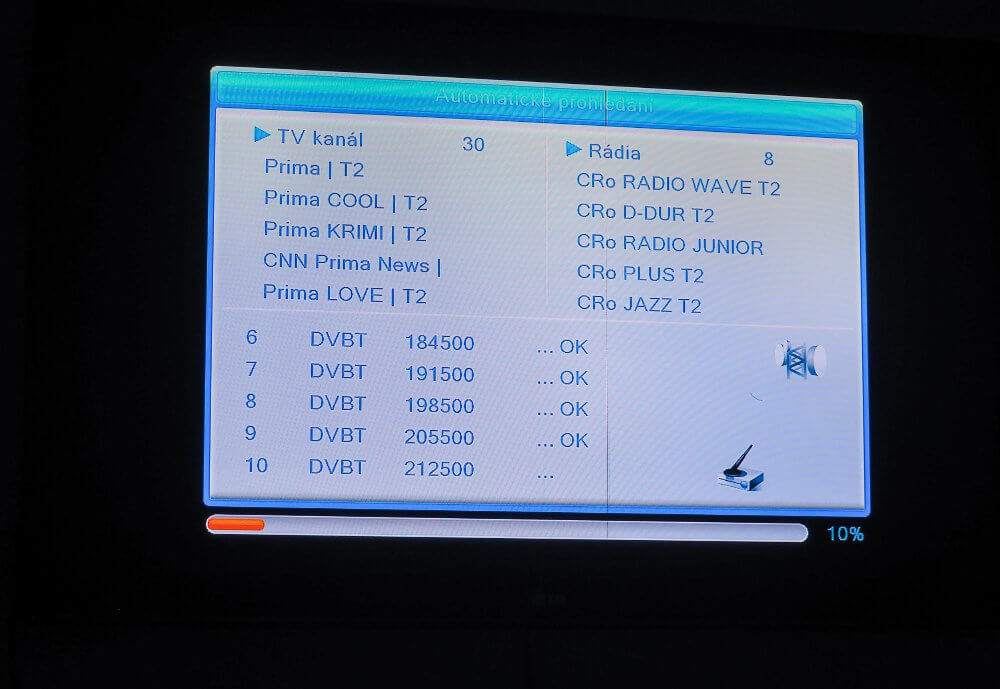 Set-top box automaticky naladí televizní i radiové stanice