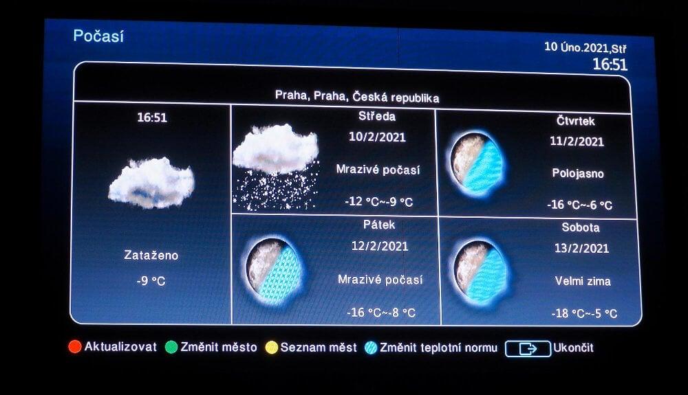 Počasí a jeho grafika vám bude dělat radost, o moc víc vám však internetové připojení nenabídne