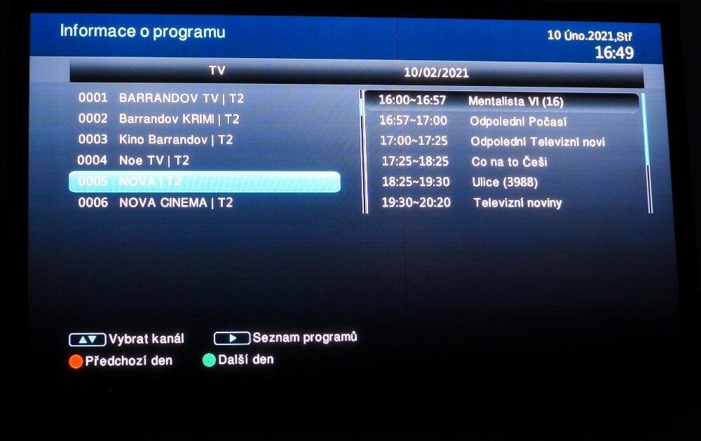 Denní přehled vysílání na jednotlivých kanálech