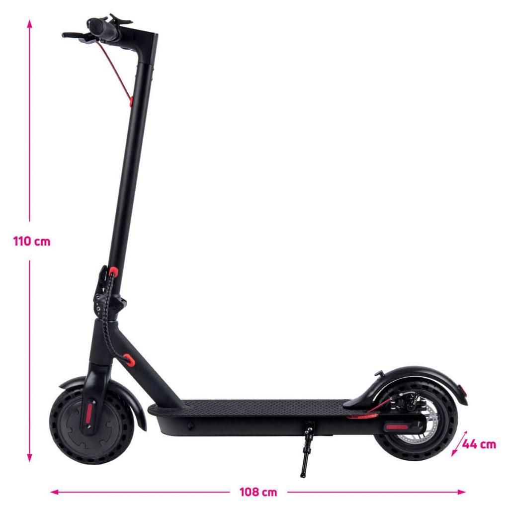 Rozměry rozložené elektrokoloběžky Scooter One 2020