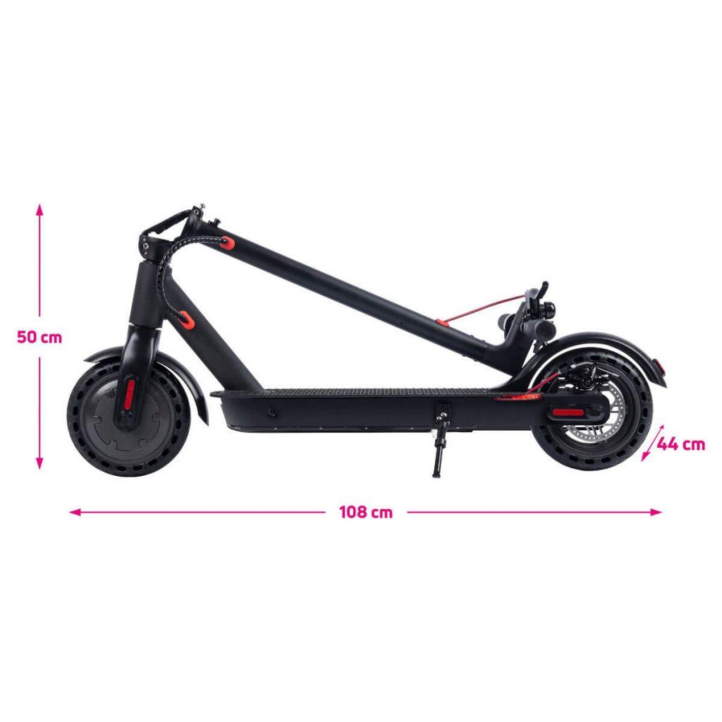 Rozměry složené elektrokoloběžky Scooter One 2020