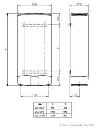 Technický nákres ohřívače vody