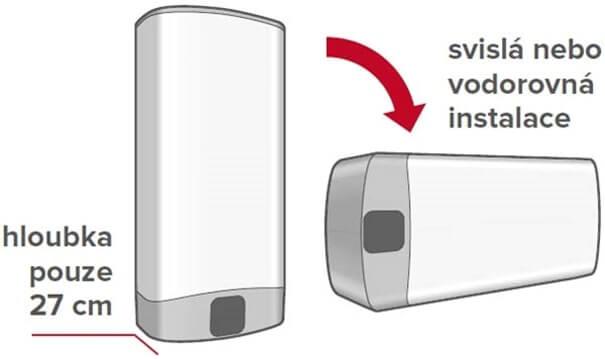 Bojler lze instalovat ve vodorovné i svislé poloze