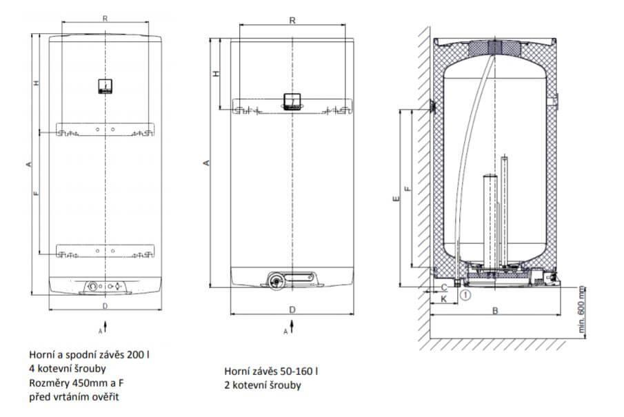 Technické schéma montáže na zeď