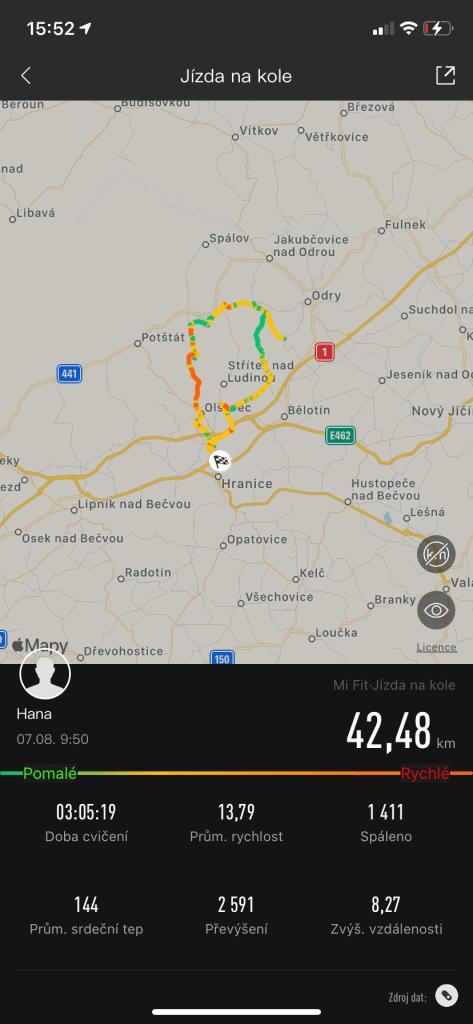 Záznam trasy při jízdě na kole