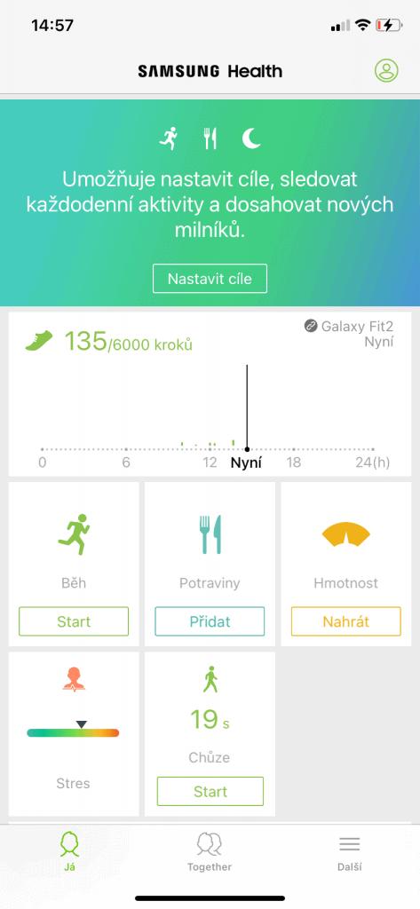 Úvodní obrazovka v aplikaci Samsung Health